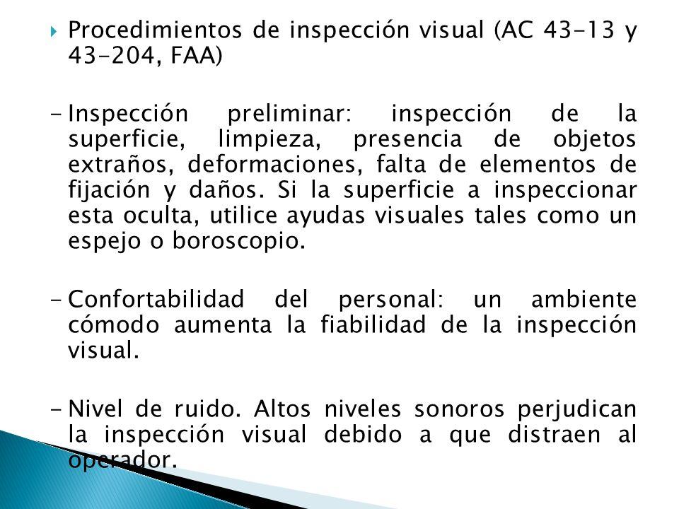 Procedimientos de inspección visual (AC 43-13 y 43-204, FAA)