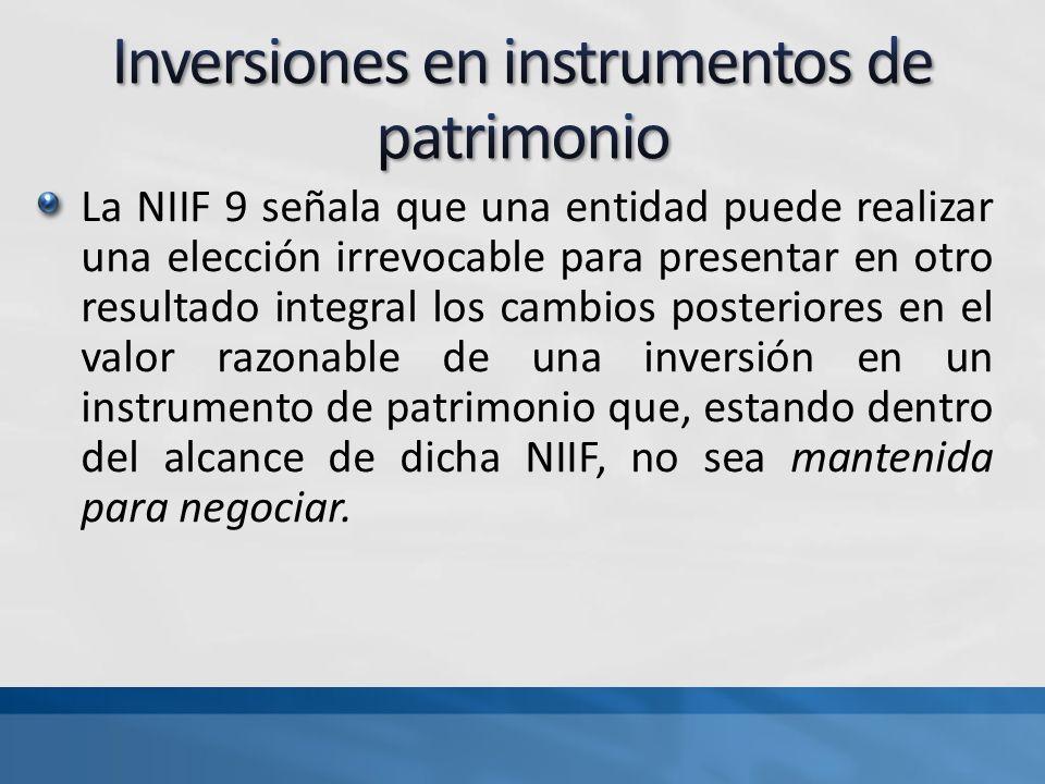 Inversiones en instrumentos de patrimonio