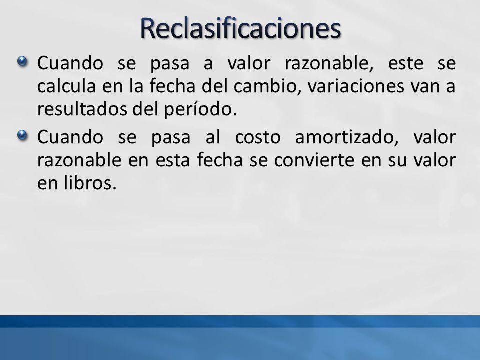 Reclasificaciones Cuando se pasa a valor razonable, este se calcula en la fecha del cambio, variaciones van a resultados del período.