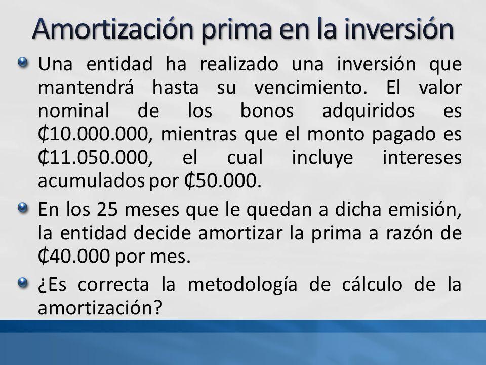 Amortización prima en la inversión