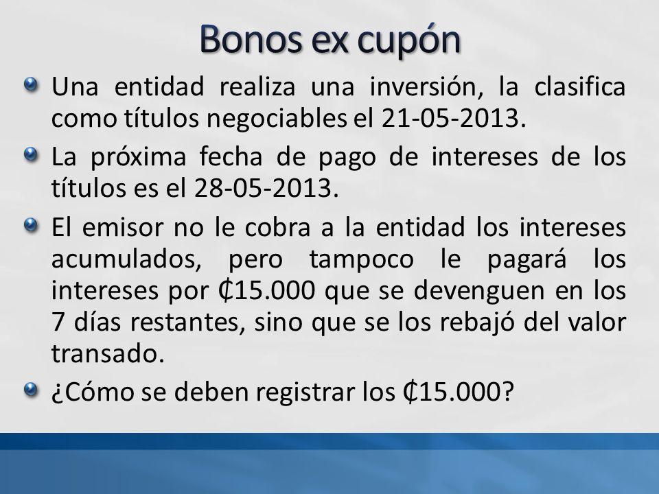 Bonos ex cupón Una entidad realiza una inversión, la clasifica como títulos negociables el 21-05-2013.
