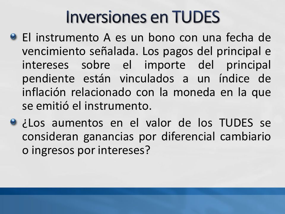 Inversiones en TUDES