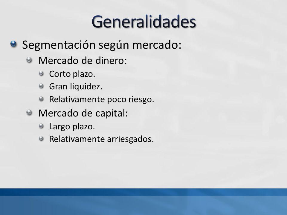Generalidades Segmentación según mercado: Mercado de dinero:
