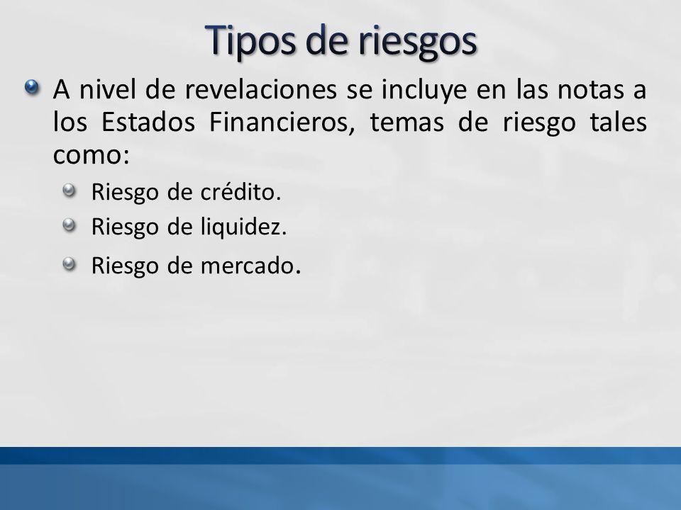 Tipos de riesgos A nivel de revelaciones se incluye en las notas a los Estados Financieros, temas de riesgo tales como: