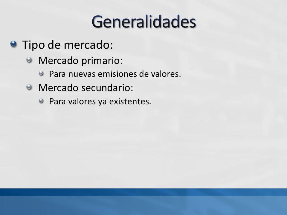 Generalidades Tipo de mercado: Mercado primario: Mercado secundario: