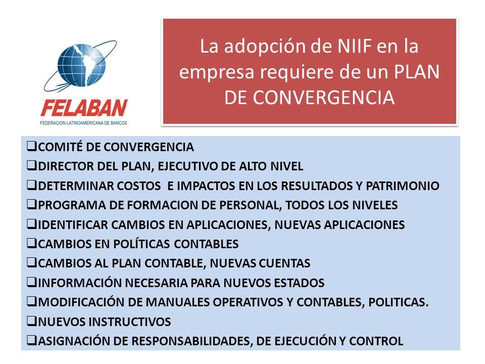 La adopción de NIIF en la empresa requiere de un PLAN DE CONVERGENCIA