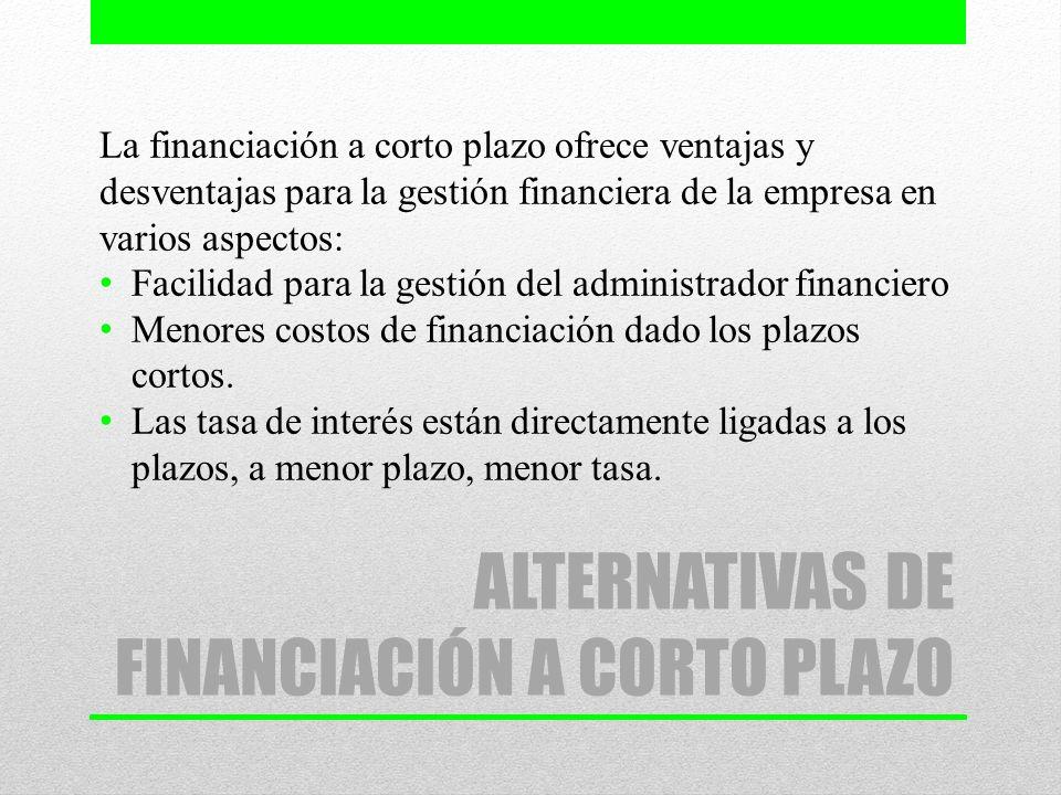 ALTERNATIVAS DE FINANCIACIÓN A CORTO PLAZO