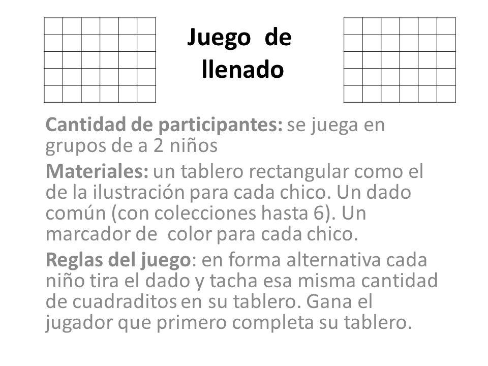 Juego De Llenado Cantidad De Participantes Se Juega En Grupos De A