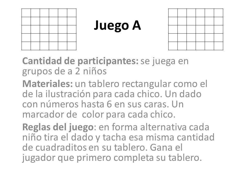 Juego A Cantidad de participantes: se juega en grupos de a 2 niños