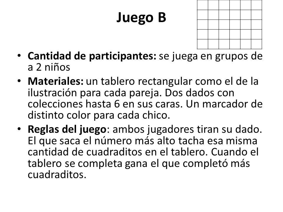 Juego B Cantidad de participantes: se juega en grupos de a 2 niños