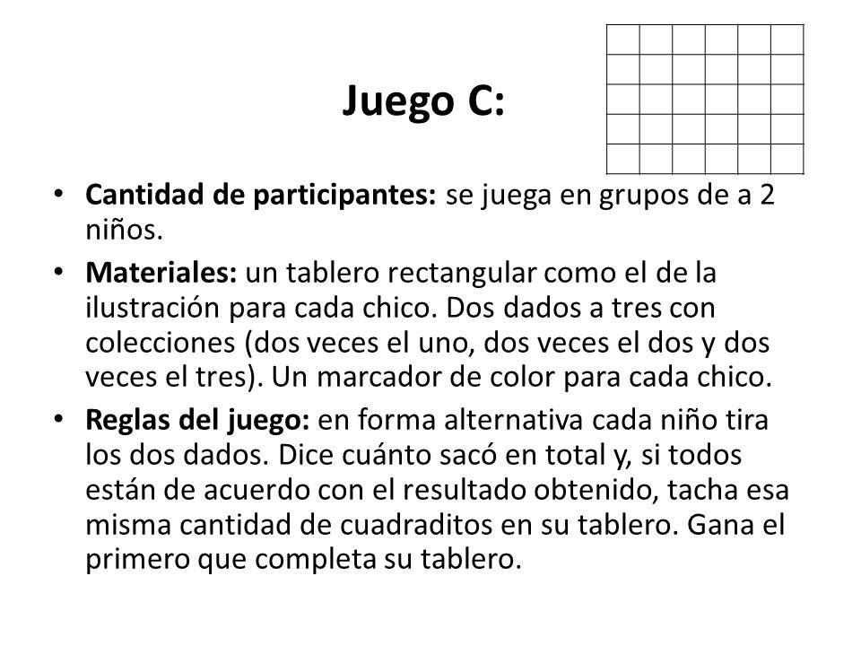 Juego C: Cantidad de participantes: se juega en grupos de a 2 niños.