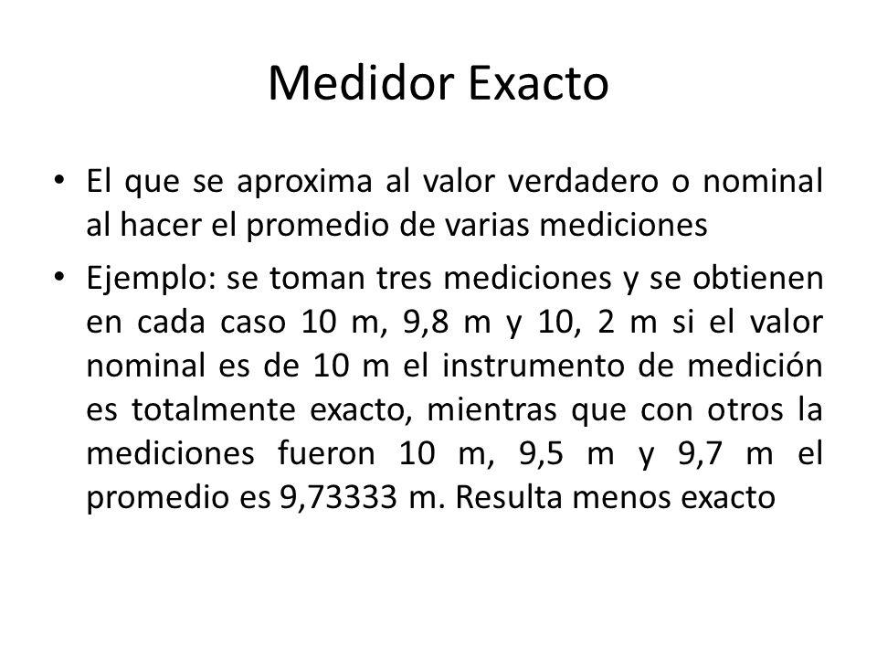 Medidor Exacto El que se aproxima al valor verdadero o nominal al hacer el promedio de varias mediciones.