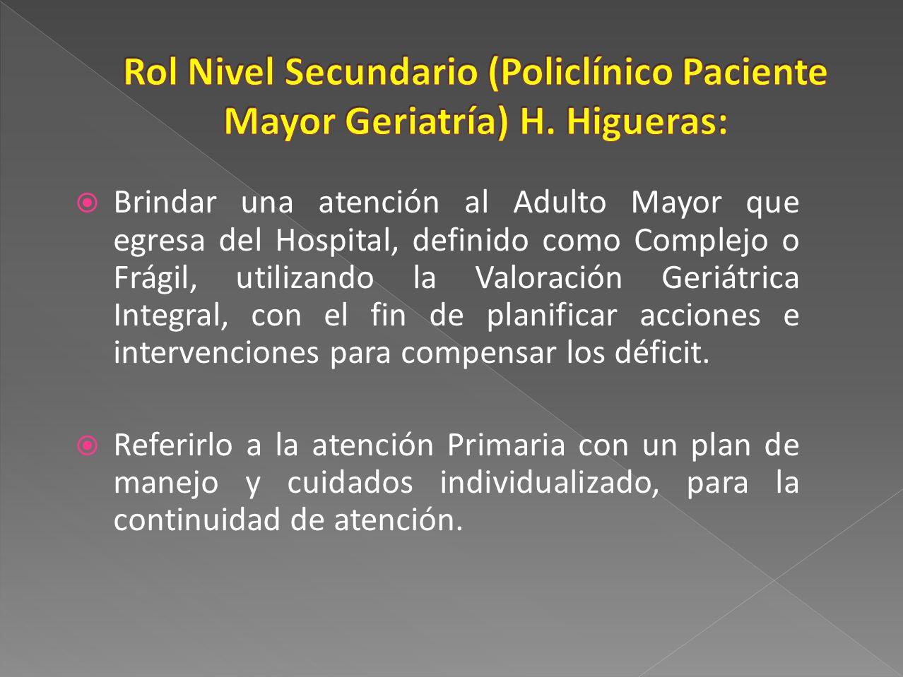 Rol Nivel Secundario (Policlínico Paciente Mayor Geriatría) H