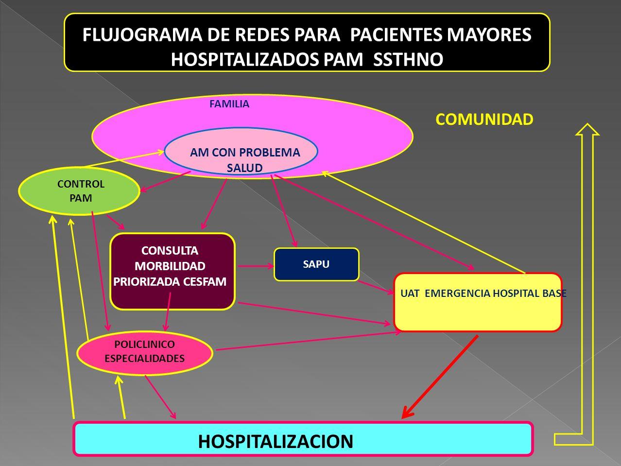 FLUJOGRAMA DE REDES PARA PACIENTES MAYORES HOSPITALIZADOS PAM SSTHNO