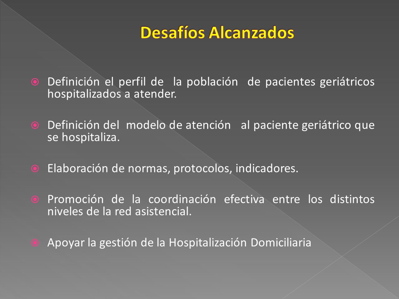 Desafíos Alcanzados Definición el perfil de la población de pacientes geriátricos hospitalizados a atender.