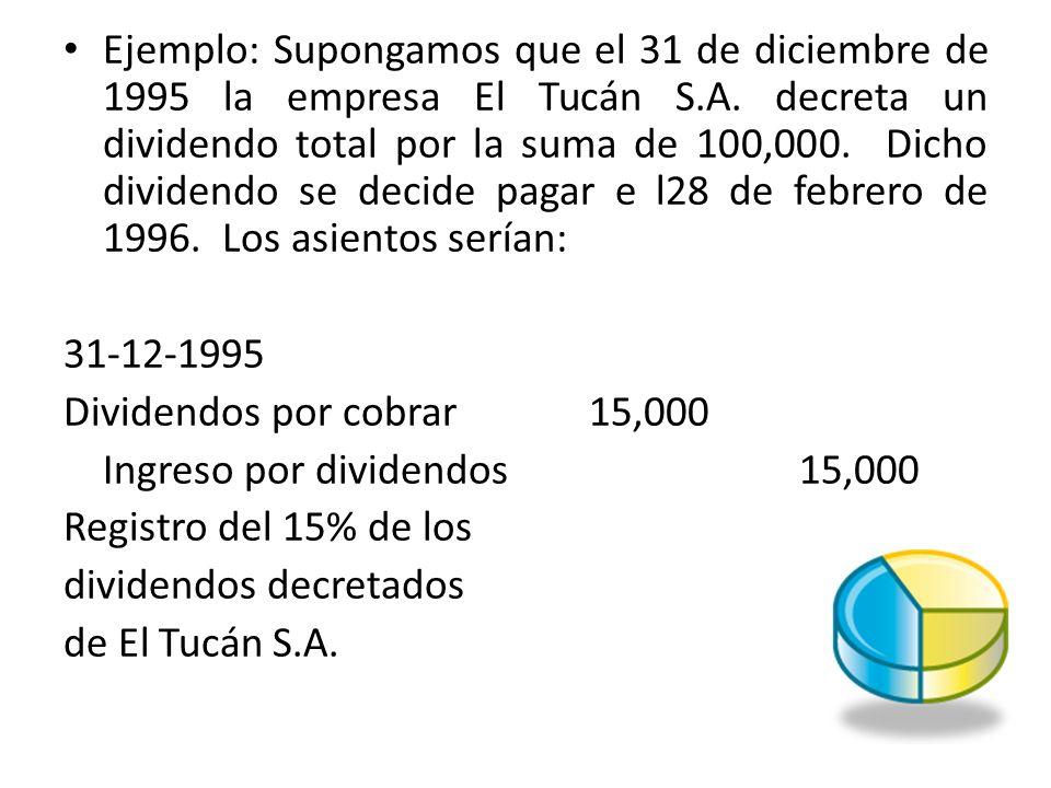 Ejemplo: Supongamos que el 31 de diciembre de 1995 la empresa El Tucán S.A. decreta un dividendo total por la suma de 100,000. Dicho dividendo se decide pagar e l28 de febrero de 1996. Los asientos serían: