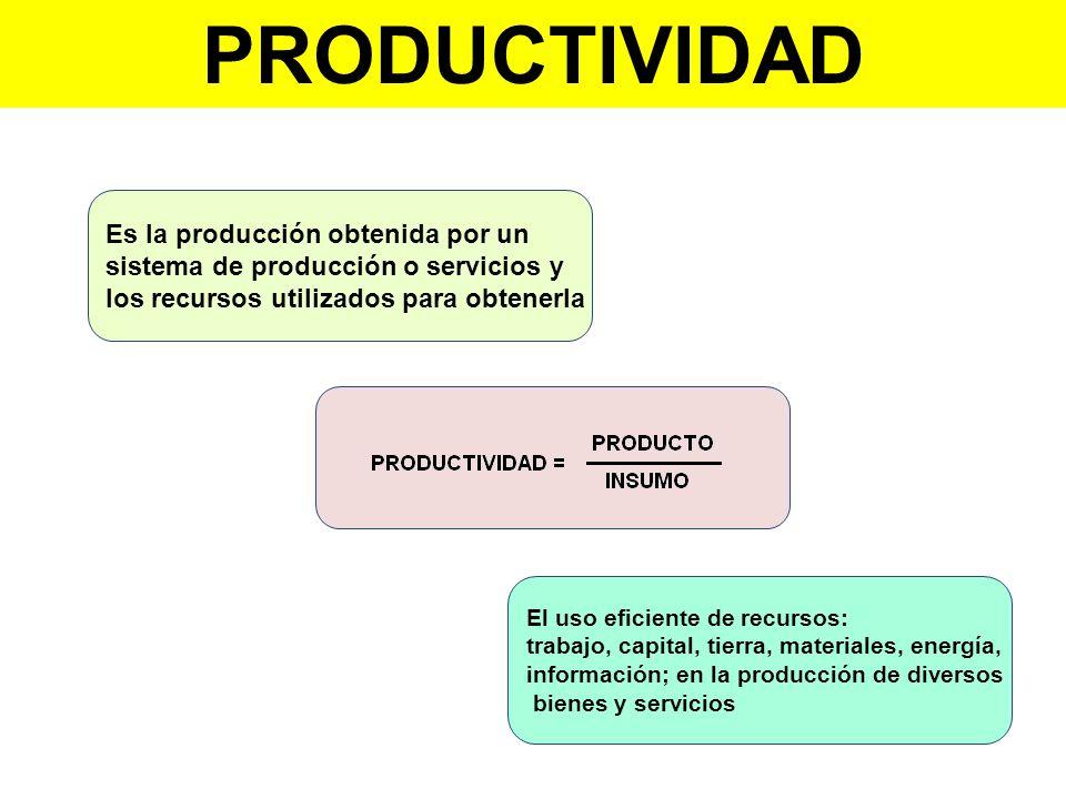 PRODUCTIVIDAD Es la producción obtenida por un
