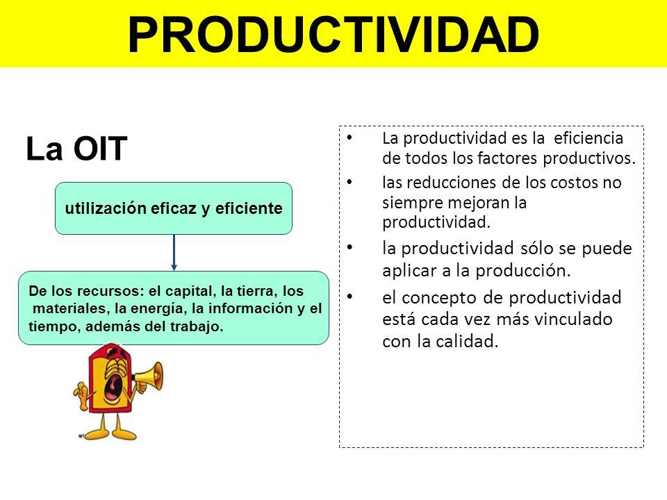 PRODUCTIVIDAD La OIT. La productividad es la eficiencia de todos los factores productivos.