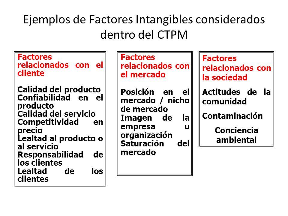 Ejemplos de Factores Intangibles considerados dentro del CTPM