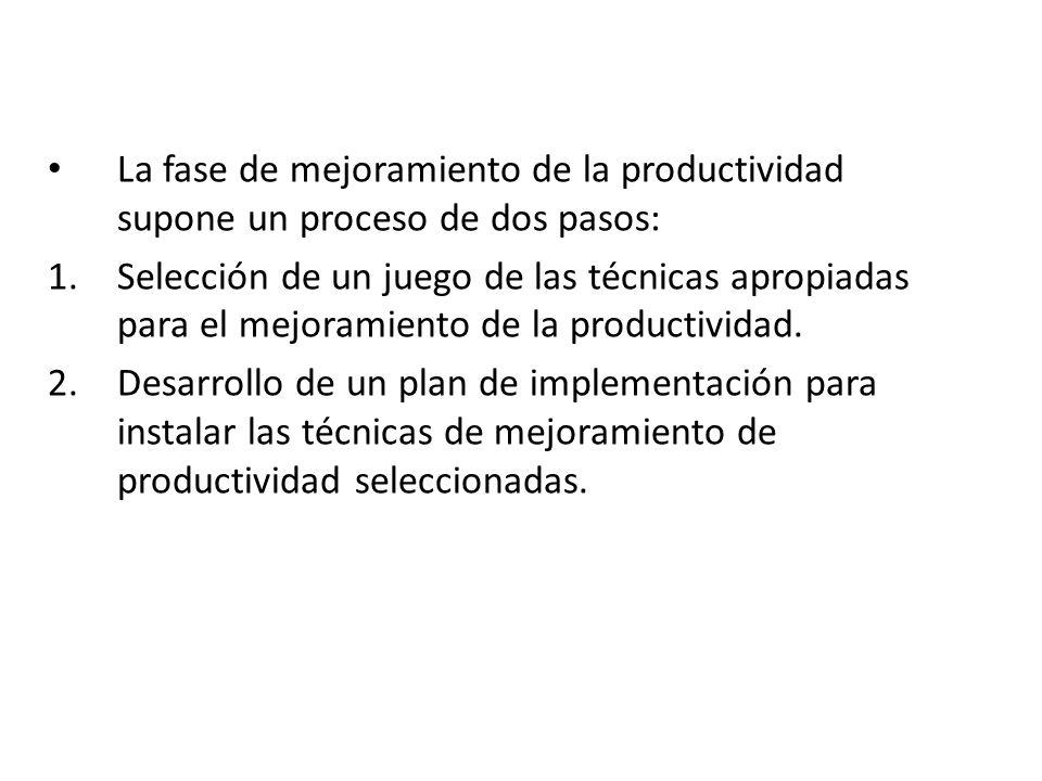La fase de mejoramiento de la productividad supone un proceso de dos pasos: