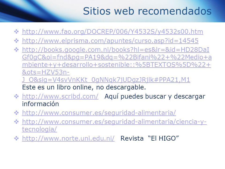 Sitios web recomendados