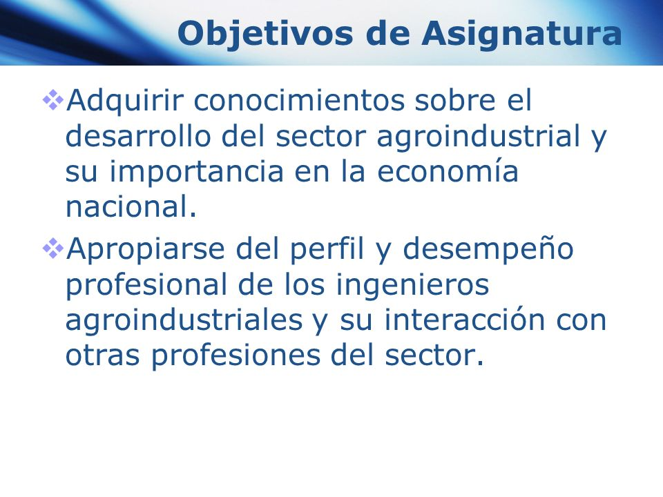 Objetivos de Asignatura