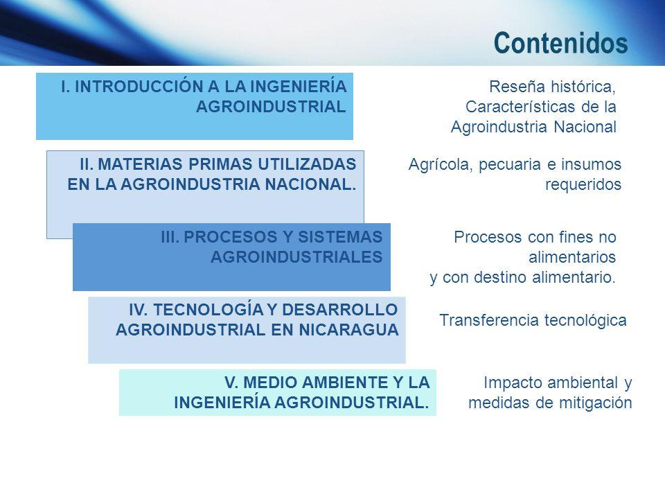 Contenidos I. INTRODUCCIÓN A LA INGENIERÍA AGROINDUSTRIAL