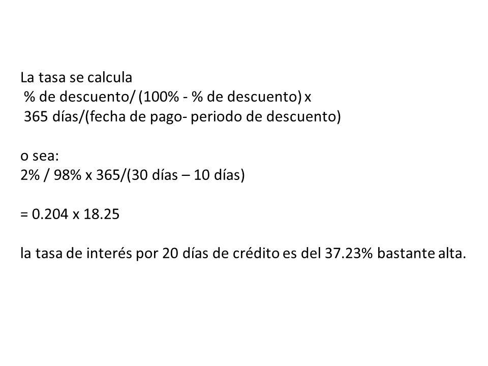 La tasa se calcula % de descuento/ (100% - % de descuento) x 365 días/(fecha de pago- periodo de descuento) o sea: 2% / 98% x 365/(30 días – 10 días) = 0.204 x 18.25 la tasa de interés por 20 días de crédito es del 37.23% bastante alta.