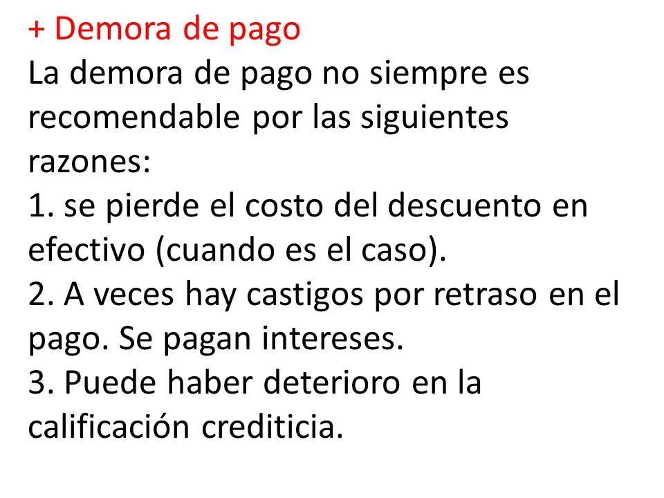 + Demora de pago La demora de pago no siempre es recomendable por las siguientes razones: 1.