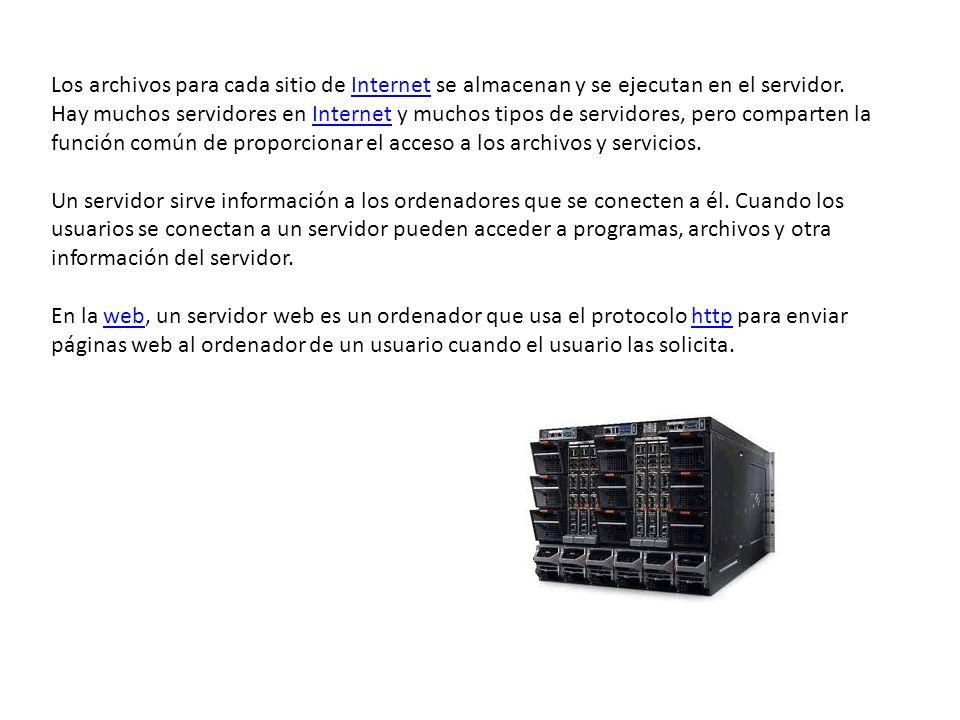 Los archivos para cada sitio de Internet se almacenan y se ejecutan en el servidor. Hay muchos servidores en Internet y muchos tipos de servidores, pero comparten la función común de proporcionar el acceso a los archivos y servicios.