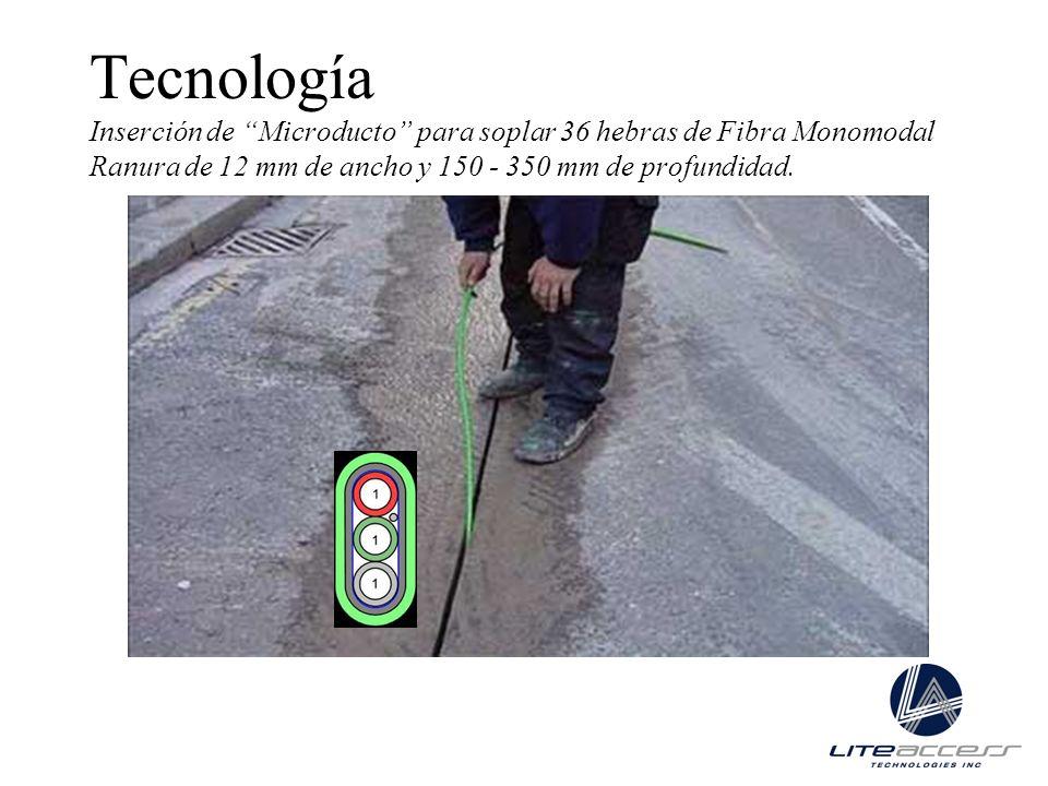 Tecnología Inserción de Microducto para soplar 36 hebras de Fibra Monomodal Ranura de 12 mm de ancho y 150 - 350 mm de profundidad.