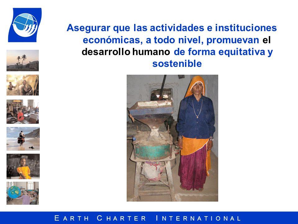 Asegurar que las actividades e instituciones económicas, a todo nivel, promuevan el desarrollo humano de forma equitativa y sostenible