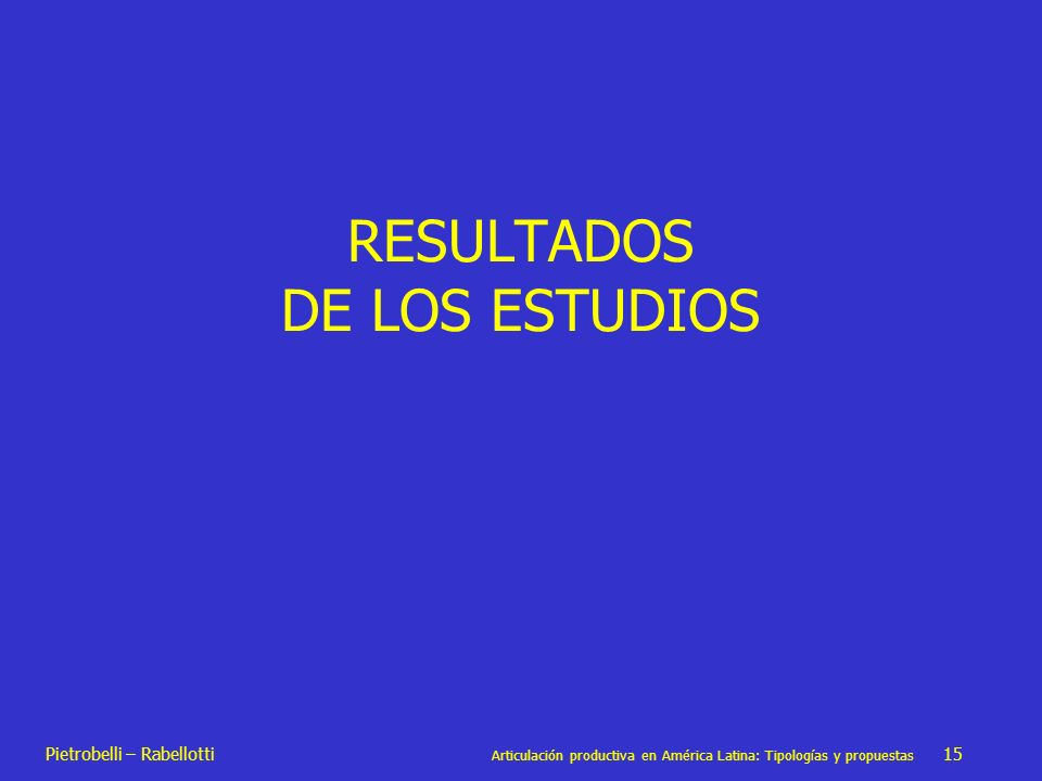 RESULTADOS DE LOS ESTUDIOS