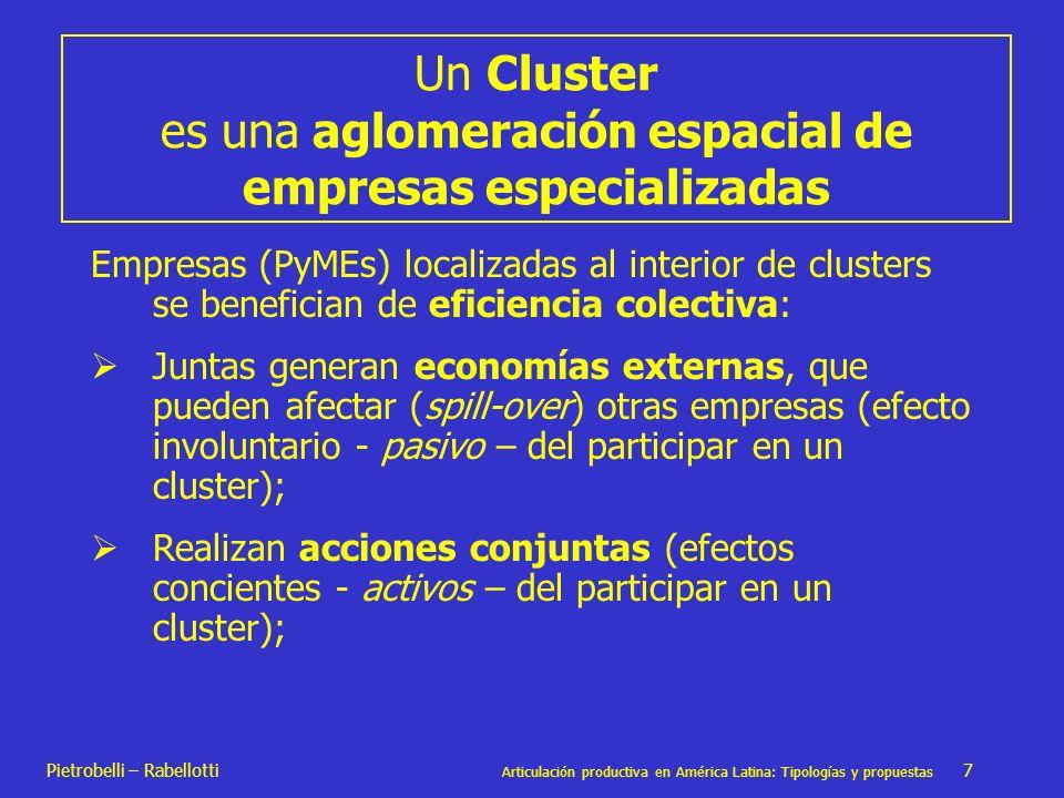 Un Cluster es una aglomeración espacial de empresas especializadas