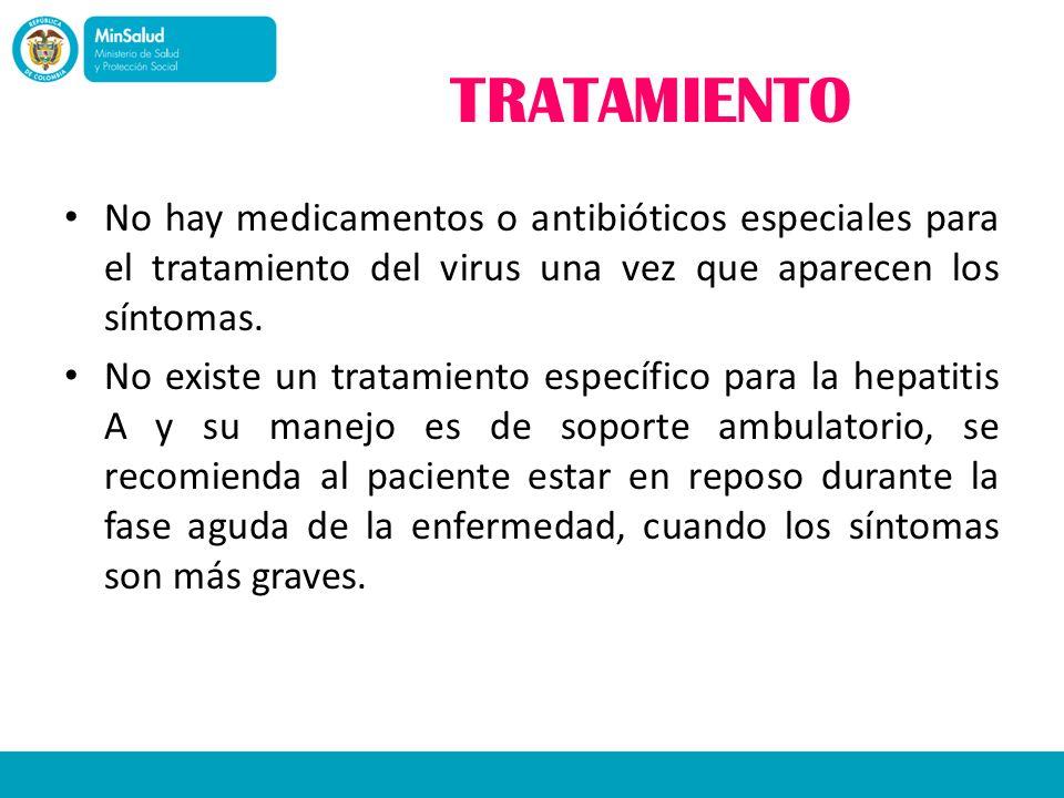 TRATAMIENTONo hay medicamentos o antibióticos especiales para el tratamiento del virus una vez que aparecen los síntomas.
