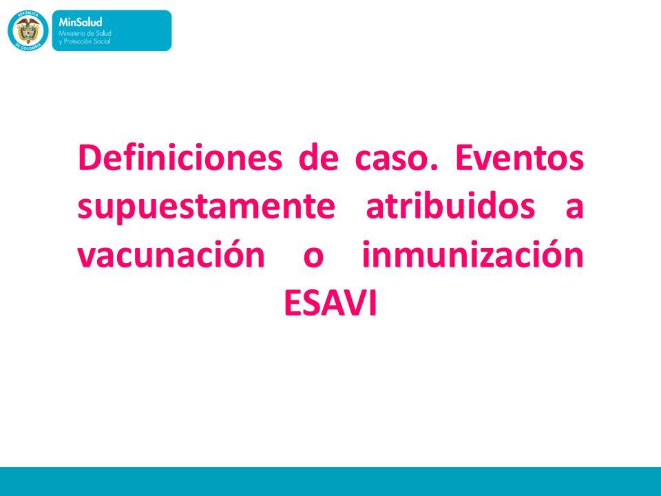 Definiciones de caso. Eventos supuestamente atribuidos a vacunación o inmunización ESAVI