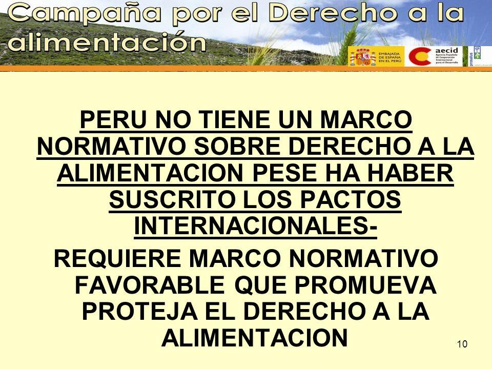 PERU NO TIENE UN MARCO NORMATIVO SOBRE DERECHO A LA ALIMENTACION PESE HA HABER SUSCRITO LOS PACTOS INTERNACIONALES-