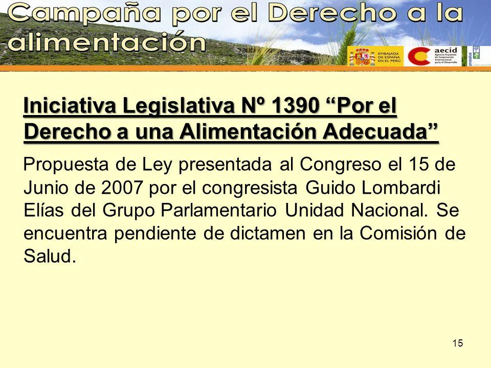 Iniciativa Legislativa Nº 1390 Por el Derecho a una Alimentación Adecuada
