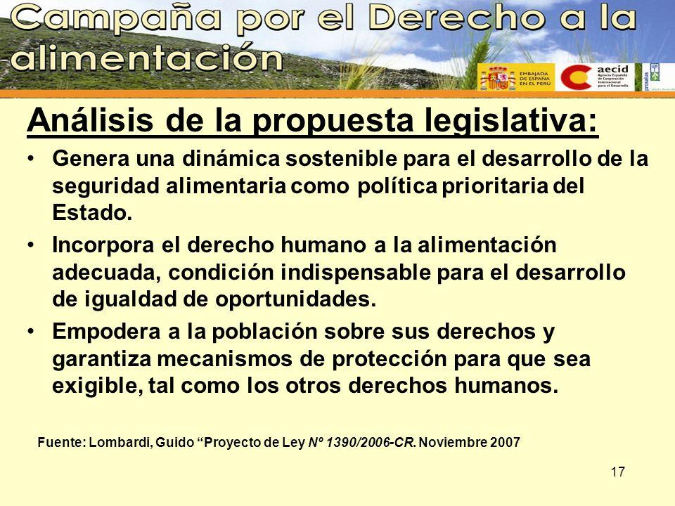 Análisis de la propuesta legislativa: