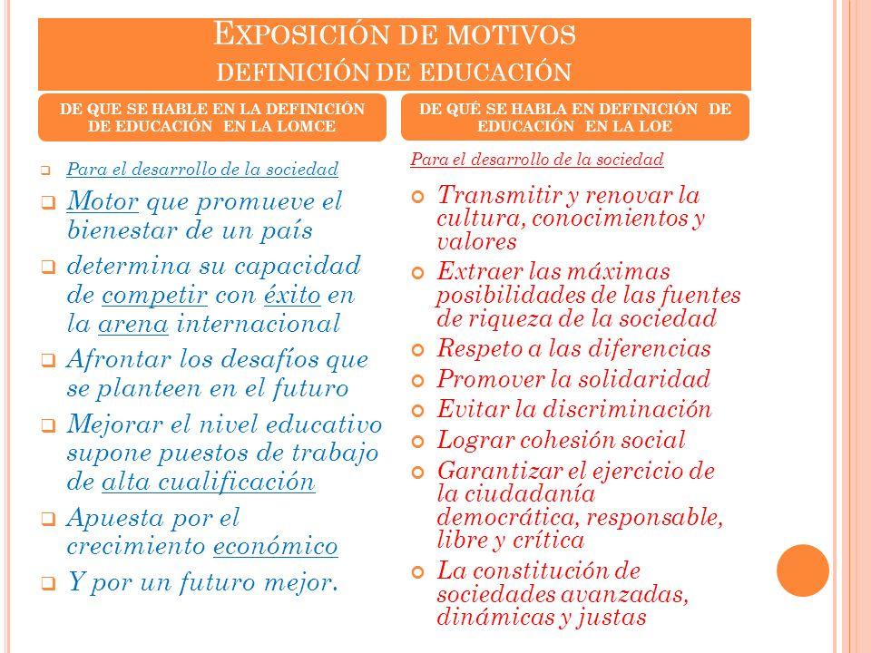 Exposición de motivos definición de educación