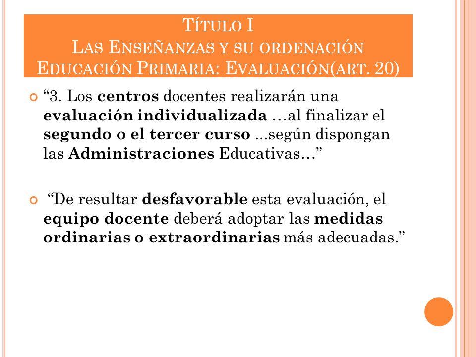 Título I Las Enseñanzas y su ordenación Educación Primaria: Evaluación(art. 20)