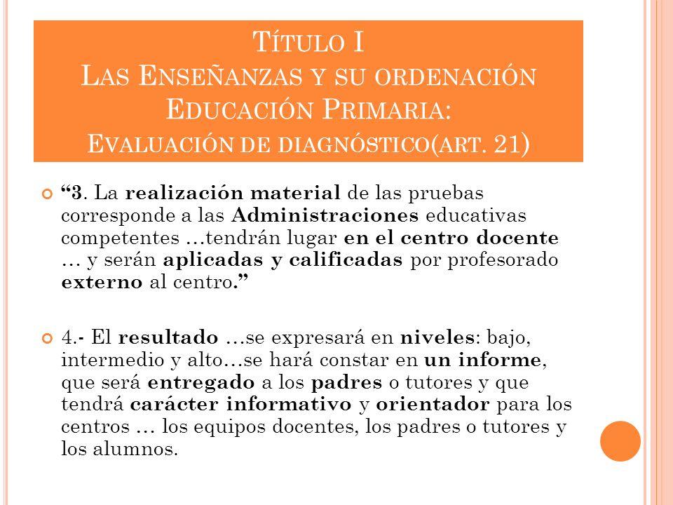 Título I Las Enseñanzas y su ordenación Educación Primaria: Evaluación de diagnóstico(art. 21)