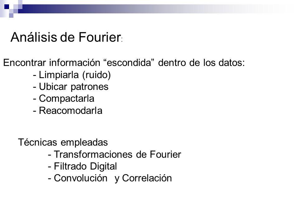 Análisis de Fourier: Encontrar información escondida dentro de los datos: - Limpiarla (ruido) - Ubicar patrones.