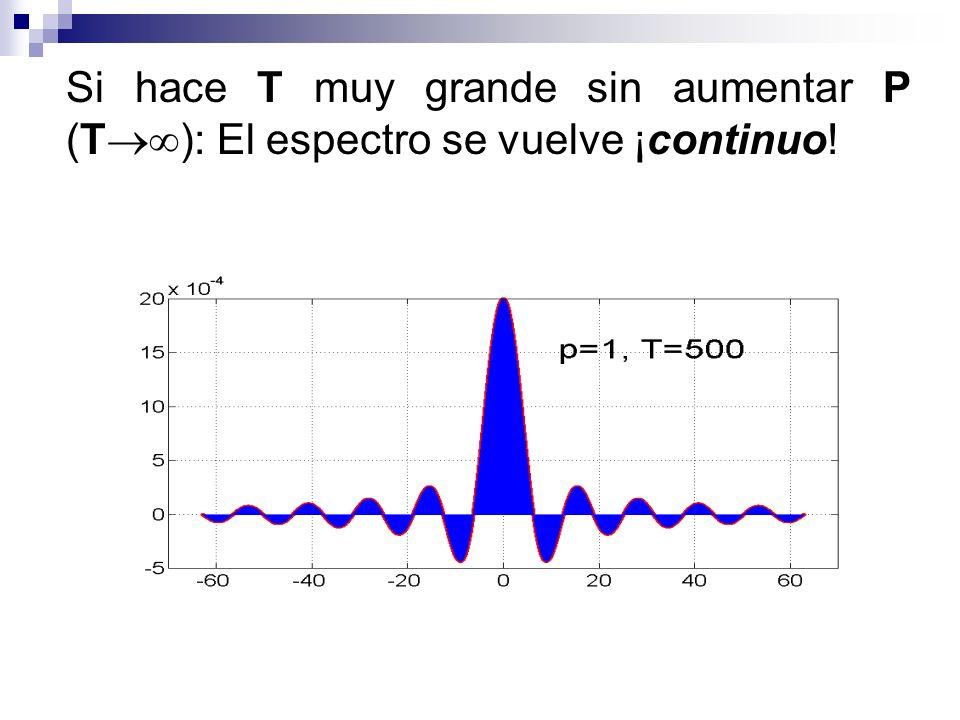 Si hace T muy grande sin aumentar P (T): El espectro se vuelve ¡continuo!