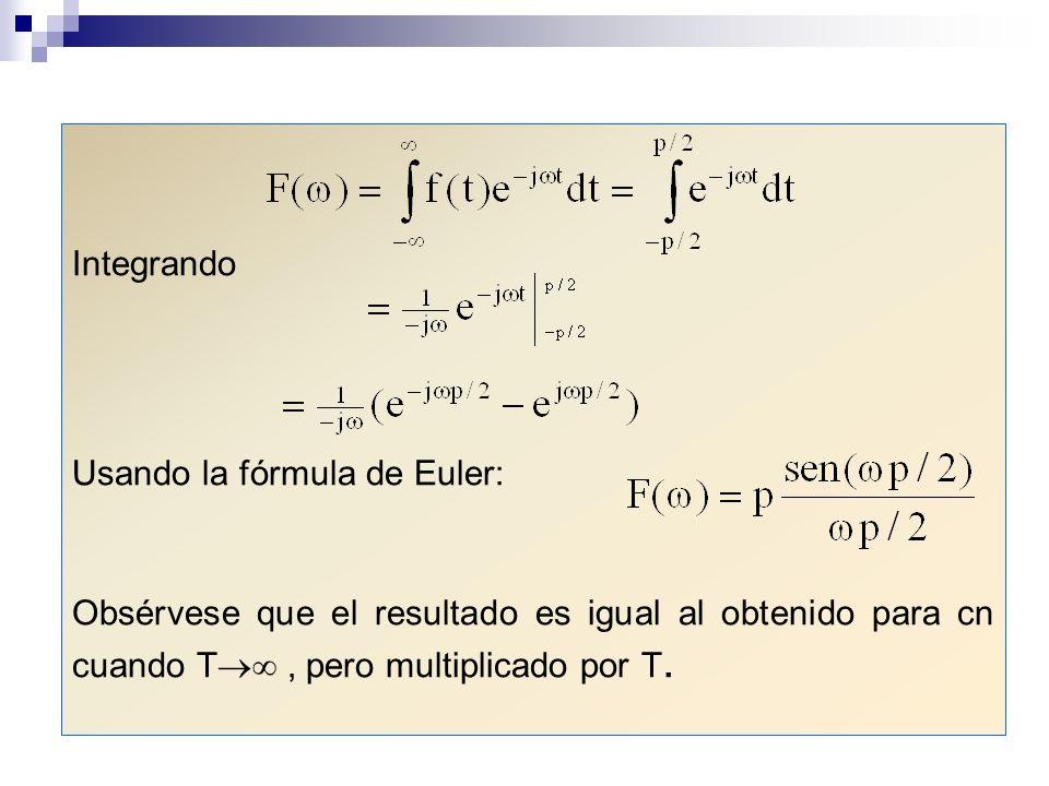 Integrando Usando la fórmula de Euler: Obsérvese que el resultado es igual al obtenido para cn cuando T , pero multiplicado por T.