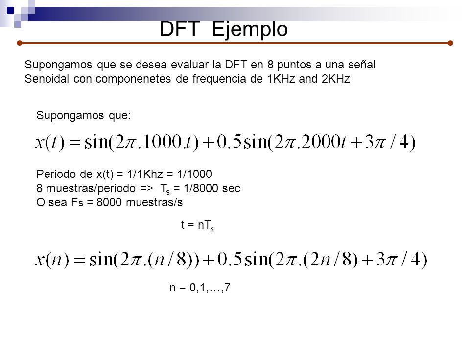 DFT Ejemplo Supongamos que se desea evaluar la DFT en 8 puntos a una señal. Senoidal con componenetes de frequencia de 1KHz and 2KHz.