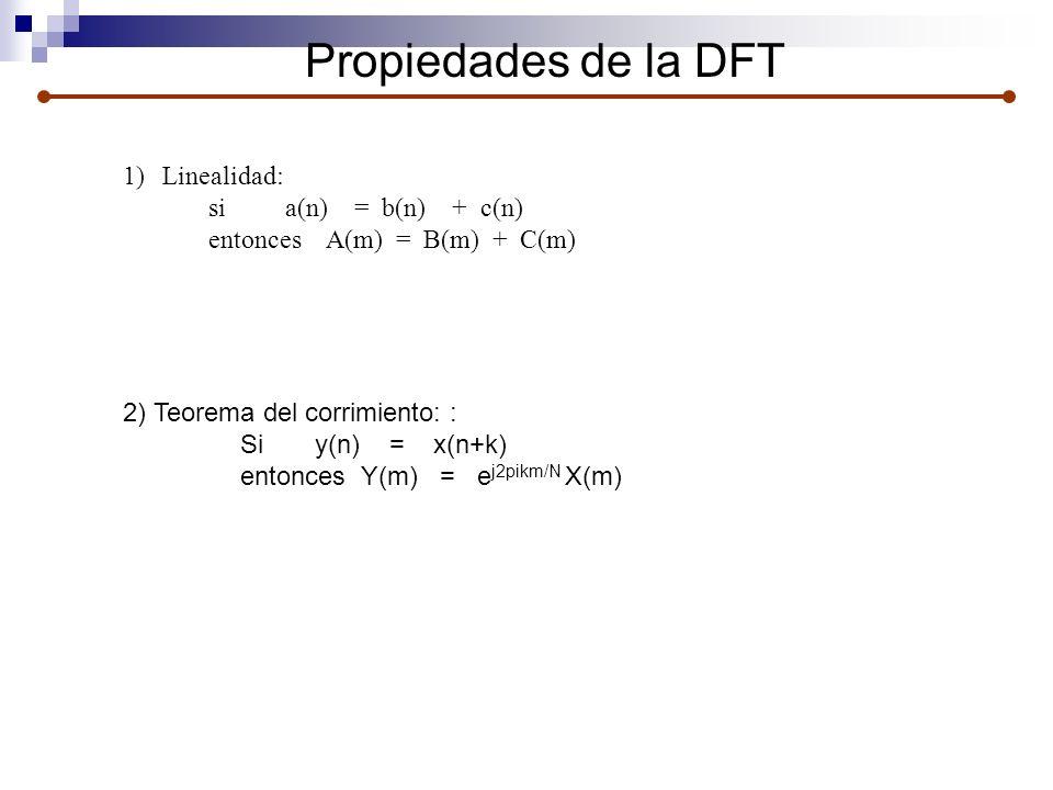 Propiedades de la DFT Linealidad: si a(n) = b(n) + c(n)