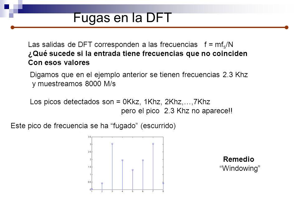 Fugas en la DFT Las salidas de DFT corresponden a las frecuencias f = mfs/N. ¿Qué sucede si la entrada tiene frecuencias que no coinciden.