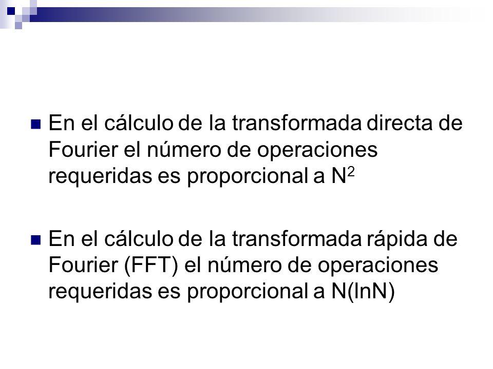 En el cálculo de la transformada directa de Fourier el número de operaciones requeridas es proporcional a N2