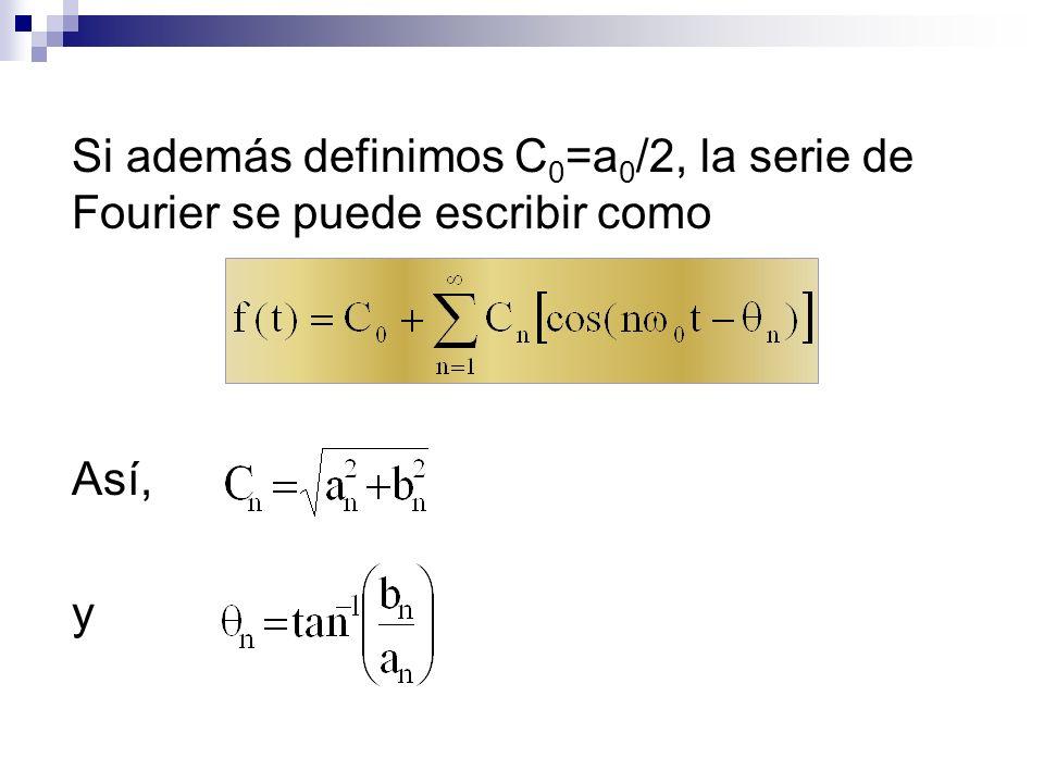 Si además definimos C0=a0/2, la serie de Fourier se puede escribir como